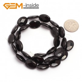 """G6869 10x14mm Oval Faceted Natural Black Agate Onyx Beads Stands 15"""" Natural Stone Beads for Jewelry Making Wholesale"""