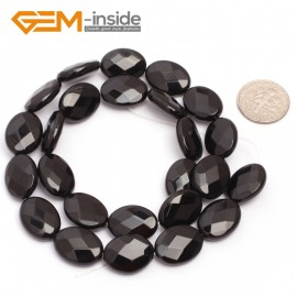 "G6870 12x16mm Oval Faceted Natural Black Agate Onyx Beads Stands 15"" Natural Stone Beads for Jewelry Making Wholesale"