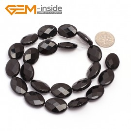 """G6871 13x18mm Oval Faceted Natural Black Agate Onyx Beads Stands 15"""" Natural Stone Beads for Jewelry Making Wholesale"""