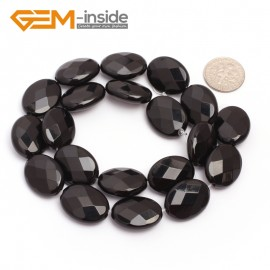 "G6872 15x20mm Oval Faceted Natural Black Agate Onyx Beads Stands 15"" Natural Stone Beads for Jewelry Making Wholesale"