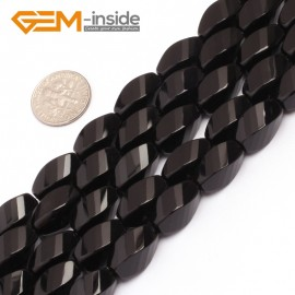 "G6876 8x16mm Twist Grum Black Agate Onyx Beads Strands 15""  Gemstone Loose Beads Natural Stone Beads for Jewelry Making Wholesale"