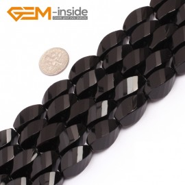 """G6878 10x20mm Twist Grum Black Agate Onyx Beads Strands 15"""" Gemstone Loose Beads Natural Stone Beads for Jewelry Making Wholesale"""