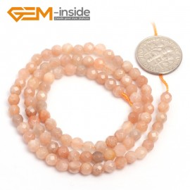 "G6901 4mm Natural Round Faceted Sunstone Loose Beads15"" 4-12mm Jewelry Making Stone Beads Natural Stone Beads for Jewelry Making Wholesale"