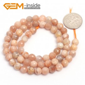 "G6902 6mm Natural Round Faceted Sunstone Loose Beads15"" 4-12mm Jewelry Making Stone Beads Natural Stone Beads for Jewelry Making Wholesale"