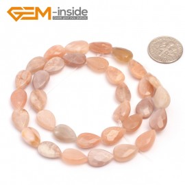 "G6906 faceted drip 8x12mm drop olivary smooth & faceted mixed shape sunstone bead 15"" jewelry making Natural Stone Beads for Jewelry Making Wholesale`"