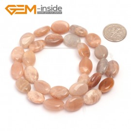"G6907 oval/10x14mm drip oval olivary Ssmooth & faceted mixed shape sunstone bead 15""jewelry making Natural Stone Beads for Jewelry Making Wholesale`"