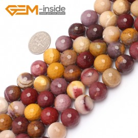 "G6933 12mm Natural Round Faceted Mookaite Jasper Beads Gemstone Stone Beads Strand 15"" Natural Stone Beads for Jewelry Making Wholesale"