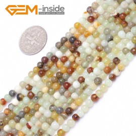 """G6939 4mm Round Gemstone Multicolor Natural Nephrite jade Hua Show Jade Beads Loose Beads strand 15"""" Pick Natural Stone Beads for Jewelry Making Wholesale"""