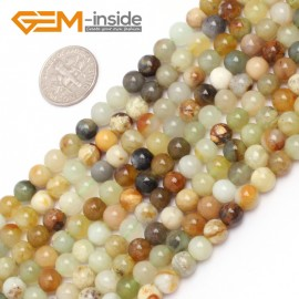 """G6940 6mm Round Gemstone Multicolor Natural nephrite jade Hua Show Jade Beads strand 15"""" Natural Stone Beads for Jewelry Making Wholesale"""