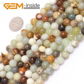 """G6941 8mm Round Gemstone Multicolor Natural nephrite Hua Show Jade Beadsstrand  15"""" Natural Stone Beads for Jewelry Making Wholesale"""