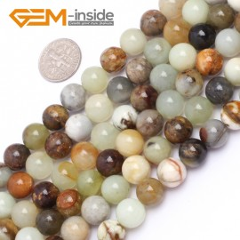 """G6942 10mm Round Gemstone Multicolor Natural nephrite Hua Show Jade Beads strand 15"""" Natural Stone Beads for Jewelry Making Wholesale"""