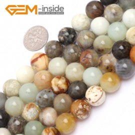 """G6943 12mm Round Gemstone Multicolor Natural nephrite Hua Show Jade Beads strand 15"""" Natural Stone Beads for Jewelry Making Wholesale"""