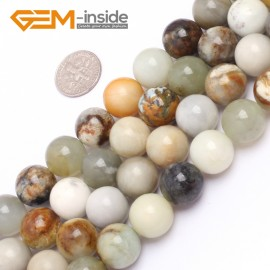 """G6944 14mm Round Gemstone Multicolor Natural Nephrite Hua Show Jade Beads strand 15"""" Natural Stone Beads for Jewelry Making Wholesale"""