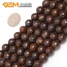 "G6945 10mm Round coffe brown Faceted Natural Bronzite Stone Gemstone Loose Beads strand 15"" Natural Stone Beads for Jewelry Making Wholesale"