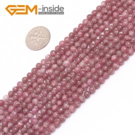 """G6953 4mm Round Pink Natural Chinese Tourmaline Gemstone Loose Beads 15""""  Natural Stone Beads for Jewelry Making Wholesale"""