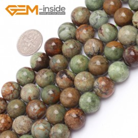 "G6962 12mm Natural Round Green Opal Gemstone Beads Strand 15"" Natural Stone Beads for Jewelry Making Wholesale"