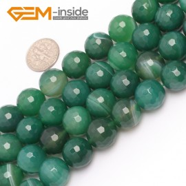 """G6972 14mm Round Faceted Green Sardonyx Agate Gemstone Loose Beads Strand 15"""" Free Shipping Natural Stone Beads for Jewelry Making Wholesale"""