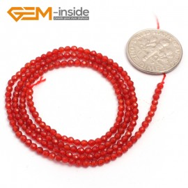 "G6998 Red Agate 2mm Round Faceted Gemstone DIY Jewelry Making Tiny Stone Loose Beads Strand 15"" Natural Stone Beads for Jewelry Making Wholesale`"