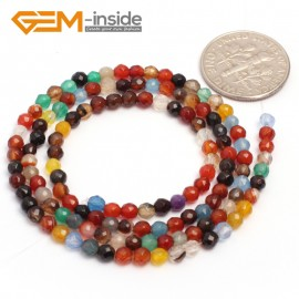 "G7005 Mixed Color Agate 3mm Round Faceted Gemstone DIY Jewelry Making Spacer Loose Beads Strand 15"" Natural Stone Beads for Jewelry Making Wholesale`"
