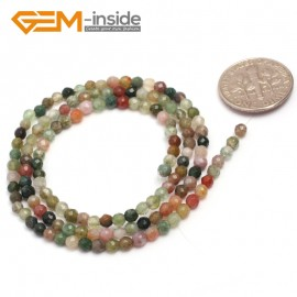 """G7007 Mixed Color Indian Agate 3mm Round Faceted Gemstone DIY Jewelry Making Spacer Loose Beads Strand 15"""" Natural Stone Beads for Jewelry Making Wholesale`"""