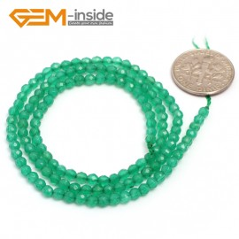 "G7009 Green Agate Indian Agate 3mm Round Faceted Gemstone DIY Jewelry Making Spacer Loose Beads Strand 15"" Natural Stone Beads for Jewelry Making Wholesale`"