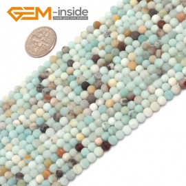 """G7029 4mm Mixed color Round Frost Mixed Color Amazonite Gemstone Loose Beads Strand 15"""" Natural Stone Beads for Jewelry Making Wholesale"""