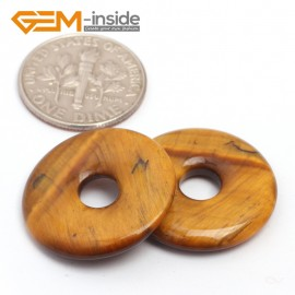 G7043 Yellow Tiger Eye 20mm Ring Gemstone Lucky Buckle DIY Earrings Pendant Making Loose Beads Natural Stone Beads for Jewelry Making Wholesale`