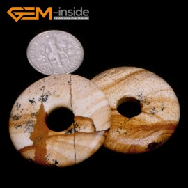 G7047 Mixed Color Picture Jasper 30mm Ring Lucky Buckle Gemstone DIY Earrings Pendant Making Beads 1 Pcs Pendants Fashion Jewelry Jewellery
