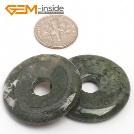 G7052 Green Moss Agate 30mm Ring Lucky Buckle Gemstone DIY Earrings Pendant Making Beads 1 Pcs Pendants Fashion Jewelry Jewellery