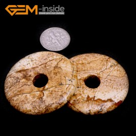 G7057 Mixed Color Picture Jasper 40mm Ring Gemstone Lucky Buckle DIY Earrings Pendant Making Loose Beads Pendants Fashion Jewelry Jewellery