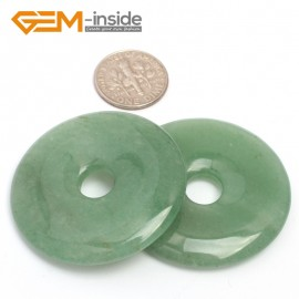 G7058 Green Aventurine 40mm Ring Gemstone Lucky Buckle DIY Earrings Pendant Making Loose Beads Pendants Fashion Jewelry Jewellery