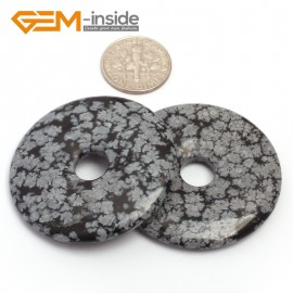 G7060 Black Snowflake Obsidion 40mm Ring Gemstone Lucky Buckle DIY Earrings Pendant Making Loose Beads Pendants Fashion Jewelry Jewellery