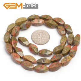 "G7109 Unakite 6X12mm Twist Mixed Gemstone Loose Beads DIY Jewelry Making  Beads Strand 15"" Natural Stone Beads for Jewelry Making Wholesale"