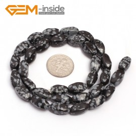 "G7112 Snowflake Obsidian 6X12mm Twist Mixed Gemstone Loose Beads DIY Jewelry Making  Beads Strand 15"" Natural Stone Beads for Jewelry Making Wholesale"