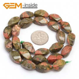 "G7132 Unakite 8X16mm Twist Gemstone DIY Jewelry Crafts Making Stone Loose Beads Strand 15"" Natural Stone Beads for Jewelry Making Wholesale"