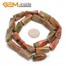 """G7140 Unakite Twist Column Natural Stone Loose Beads 15"""" 9x20mm for Jewelry Making 13 Material Natural Stone Beads for Jewelry Making Wholesale"""