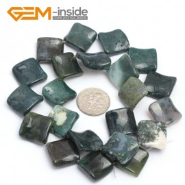 """G7153 Moss Agate 15mm Square Diagonal Twist Gemstone DIY Jewelry Crafts Making Loose Beads 15"""" Natural Stone Beads for Jewelry Making Wholesale`"""