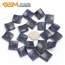 """G7154 Sodalite 15mm Square Diagonal Twist Gemstone DIY Jewelry Crafts Making Loose Beads 15"""" Natural Stone Beads for Jewelry Making Wholesale`"""