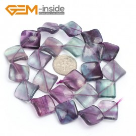 "G7155 Fluorite 15mm Square Diagonal Twist Gemstone DIY Jewelry Crafts Making Loose Beads 15"" Natural Stone Beads for Jewelry Making Wholesale`"