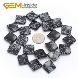 "G7159 Snowflake Obsidian 15mm Square Diagonal Twist Gemstone DIY Jewelry Crafts Making Loose Beads 15"" Natural Stone Beads for Jewelry Making Wholesale`"