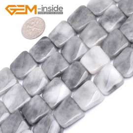 """G7168 Gray Agate 16mm Square Wave Shape Gemstone DIY Crafts Jewellry Making Loose Beads 15"""" Natural Stone Beads for Jewelry Making Wholesale`"""