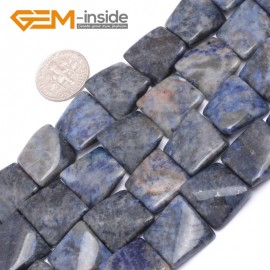 """G7170 Sodalite 16mm Square Wave Shape Gemstone DIY Crafts Jewellry Making Loose Beads 15"""" Natural Stone Beads for Jewelry Making Wholesale`"""