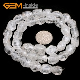 "G7188 white rock quartz 8-9x11-12mm Faced Cuboid Mixed Stone Beads 15"" DIY Jewelry Making 19 Materials Natural Stone Beads for Jewelry Making Wholesale"