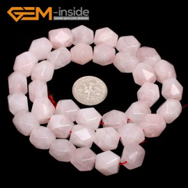 "G7189 rose pink quartz 8-9x11-12mm Faced Cuboid Mixed Stone Beads 15"" DIY Jewelry Making 19 Materials Natural Stone Beads for Jewelry Making Wholesale"