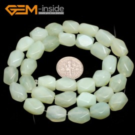 "G7190 New jade 8-9x11-12mm Faced Cuboid Mixed Stone Beads 15"" DIY Jewelry Making 19 Materials Natural Stone Beads for Jewelry Making Wholesale"