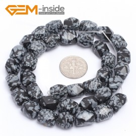 "G7203 black snowflake odsidian 8-9x11-12mm Faced Cuboid Mixed Stone Beads 15"" DIY Jewelry Making 19 Materials Natural Stone Beads for Jewelry Making Wholesale"