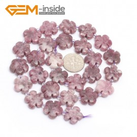 "G7214 Strawberry Quartz 15mm Flower Shape Gemstone DIY Jewelry Crafts Making Stone Loose Beads Strand15"" Natural Stone Beads for Jewelry Making Wholesale`"