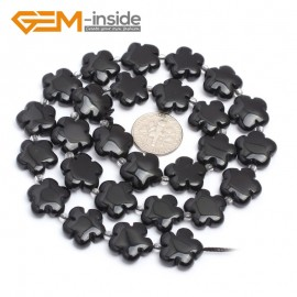 "G7219 Black Obsidian 15mm Flower Shape Gemstone DIY Jewelry Crafts Making Stone Loose Beads Strand15"" Natural Stone Beads for Jewelry Making Wholesale`"