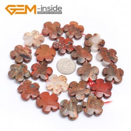 "G7227 Mixed Red Jasper 20mm Flower Shape Gemstone DIY Jewelry Crafts Making Stone Loose Beads Strand15"" Natural Stone Beads for Jewelry Making Wholesale`"