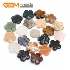 "G7230 Mixed Stone 20mm Flower Shape Gemstone DIY Jewelry Crafts Making Stone Loose Beads Strand15"" Natural Stone Beads for Jewelry Making Wholesale`"